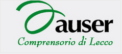 """Rettangolo con le parole """"Auser"""" in alto e """"Comprensorio di Lecco"""" in basso."""