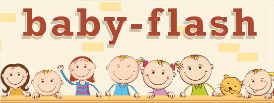 """Sopra le parole """"Baby-flash"""", sotto il disegno di bambini dietro un tavolo."""