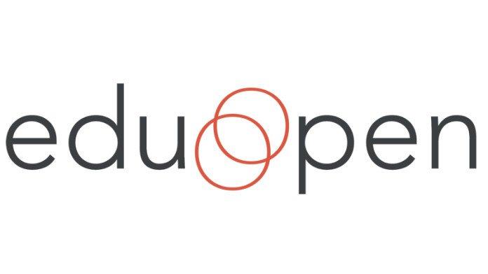 """Logo di eduopen: parola eduopen scritta in stampato minuscolo; al posto della lettera """"o"""" ci sono due cerchi rossi che si sovrappongono come nel diagramma di Eulero-Venn."""