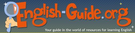 """A sinistra una mano impugna una lente di ingrandimento. Al centro e a destra ci sono le parole """"English-Guide.org""""."""