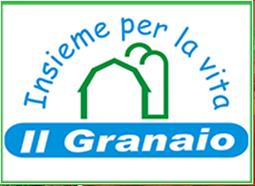 """Al centro l'immagine stilizzata di un granaio. Sopra l'immagine, ad arco, lo slogan """"Insieme per la vita"""" e sotto le parole """"Il Granaio""""."""