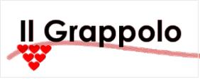 """Rettangolo bianco; all'interno le parole """"Il grappolo"""" sottolineate. In basso a sinistra un grappolo formato da sei cuori."""