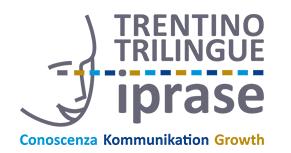 """A sinistra volto stilizzato di tre quarti. A destra le parole """"Trentino Trilingue Iprase"""". Sotto le parole """"Conoscenza Kommunikation Growth""""."""