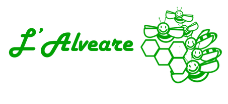 """A sinistra la parola """"L'alveare""""; a destra l'immagine di alcune celle esagonali e sei api antropomorfizzate che volano."""