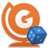 """Icona di un mappamondo aranzione con la lettera """"G"""" scritta sulla sfera. Davanti, un dado a sei facce."""