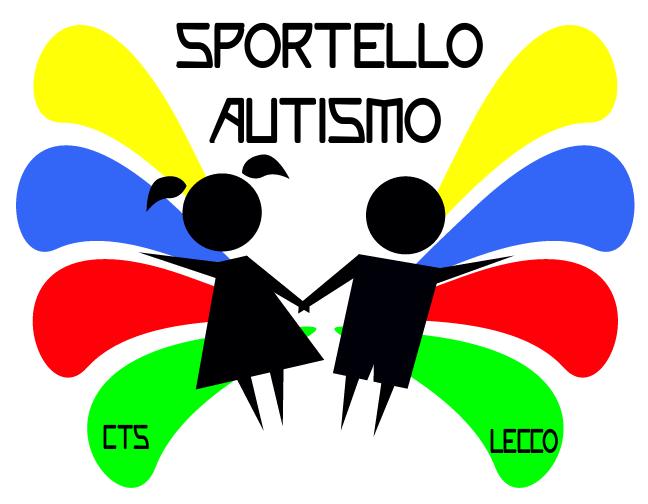 """Una bambina e un bambino stilizzati si tengono per mano. Dietro di loro alcune gocce colorate di forma allungata si dirigono a destra e a sinistra. Sopra la scritta """"Sportello autismo""""."""