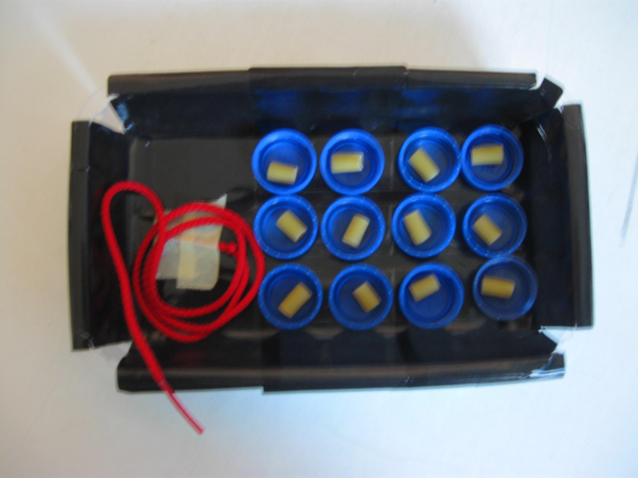 Una scatola nera contenete una stringa rossa e dodici tappi di bottiglia blu con dentro un maccheroncino ciascuno.