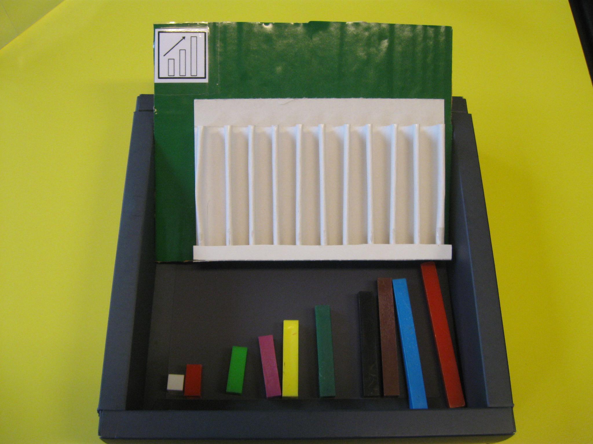 In una scatola c'è un pezzo di ogni regolo e un cartoncino con gli spazi in cui posizionarli.